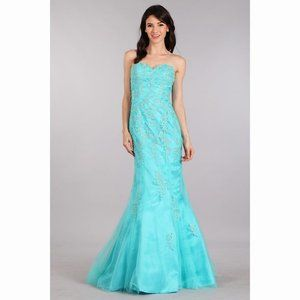 Sweetheart Aqua Lace Mermaid Dress